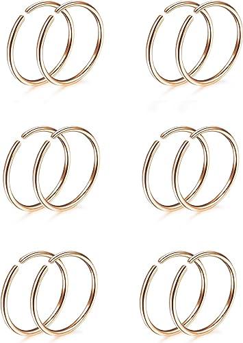 Anillo de piercing o-ring Rosegold ~~ 20 tamaños//de 6 hasta 12mm de diámetro acero