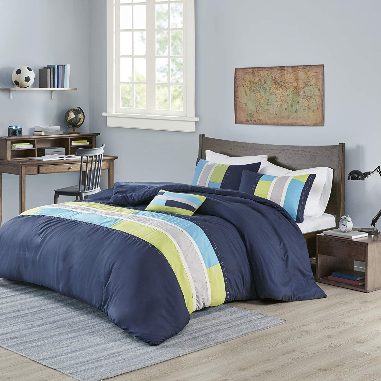 Amazon Com Mi Zone Duvet Modern Casual Vibrant Colorblock Design All Season Comforter Cover Teen Bedding Boys Bedroom Décor Twin Twin Xl Navy 3 Piece Home Kitchen
