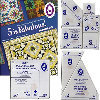 Template Sets Q T R 4 Items: Volume 5 Quilting Book Marti Michell Easy Quilt Template Bundle for Beginner Quilting