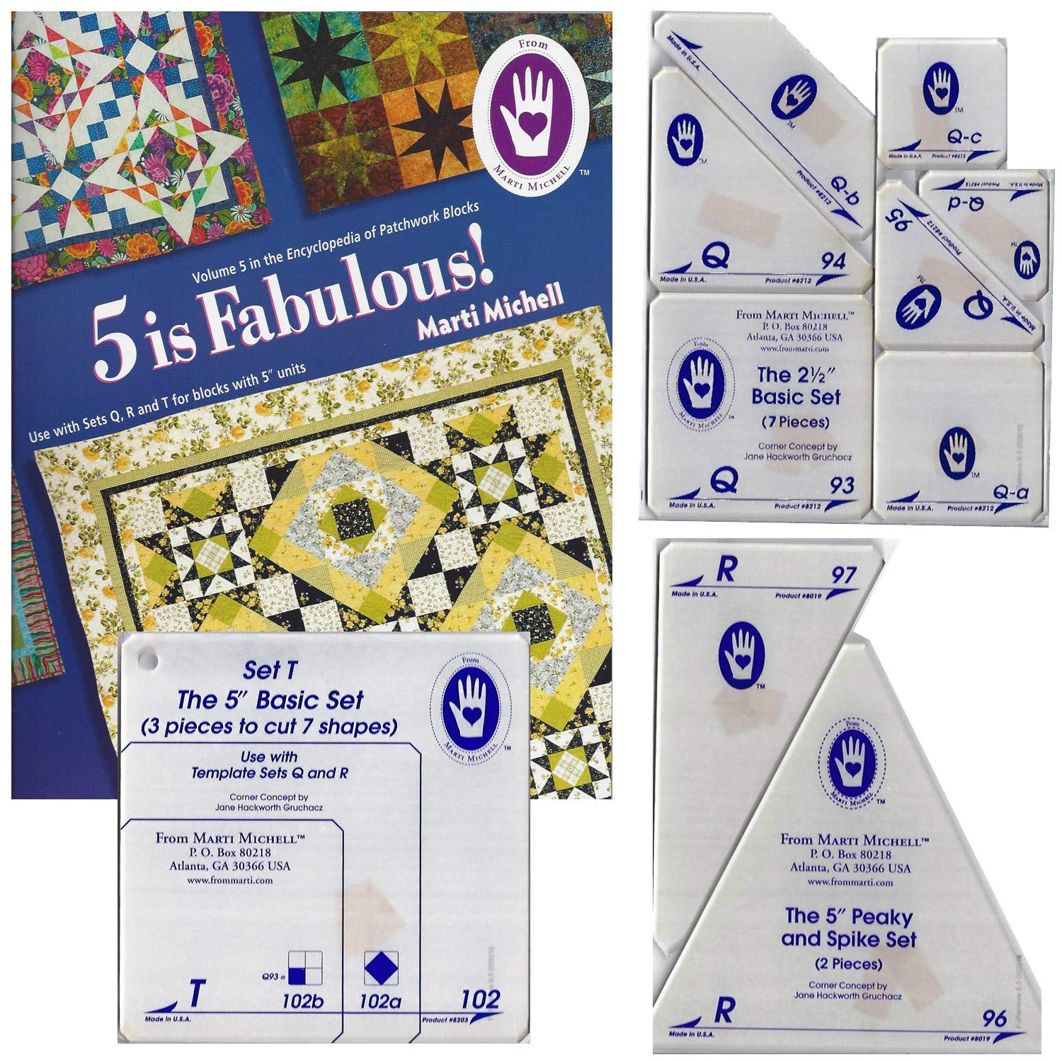 Marti Michell Easy Quilt Template Bundle for Beginner Quilting - 4 Items: Volume 5 Quilting Book, Template Sets Q, R, T by Marti Michell