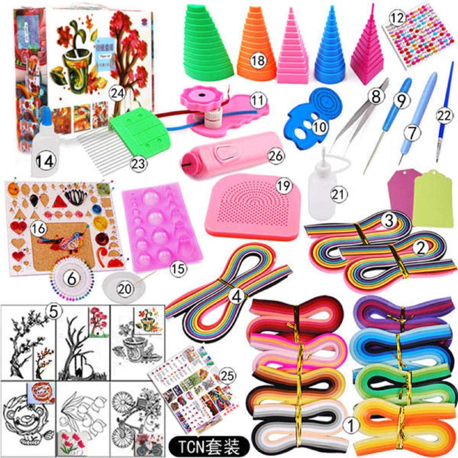 Tool Most Complete Quilling Paper Set Color Paper Craft Drawing Material Package Beginners Tool Board with Box Suitcase C83 (5) by Souvenir