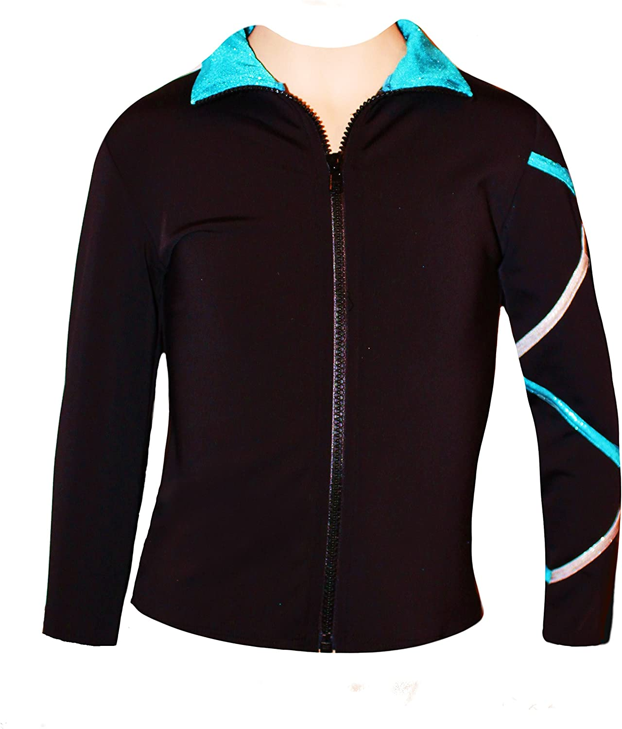Ice Fire Figure Skating Criss Cross Jacket - Silver/Turquoise