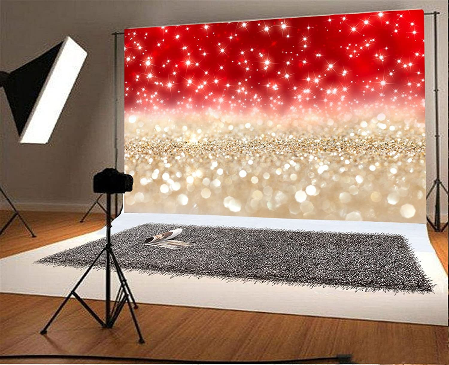 CSFOTO 7x5ft Background for Red and Gold Glitter Bokeh Photography Backdrop Birthday Party Wedding Decoration Bridal Party Glistening Sequins Neon Glister Photo Studio Props Polyester Wallpaper