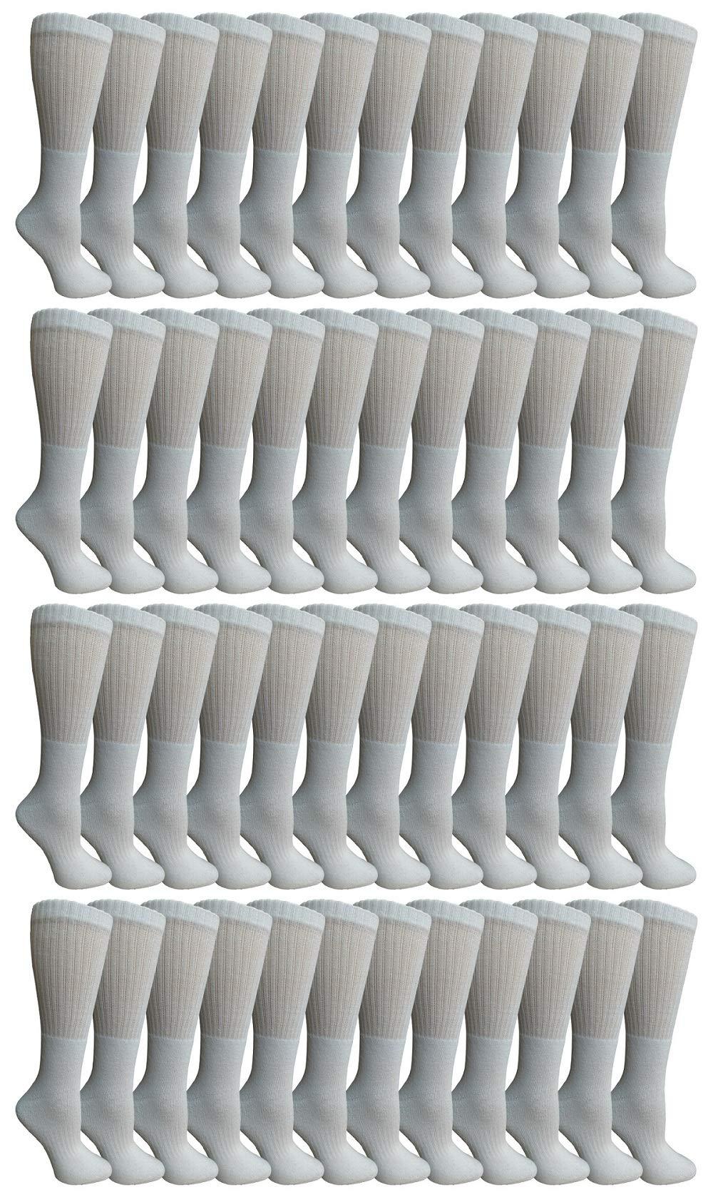 SOCKS'NBULK 60 Pairs Wholesale Bulk Sport Cotton Unisex Crew Socks, Ankle Socks, Value Deal (Womens - White Crew) by SOCKS'NBULK