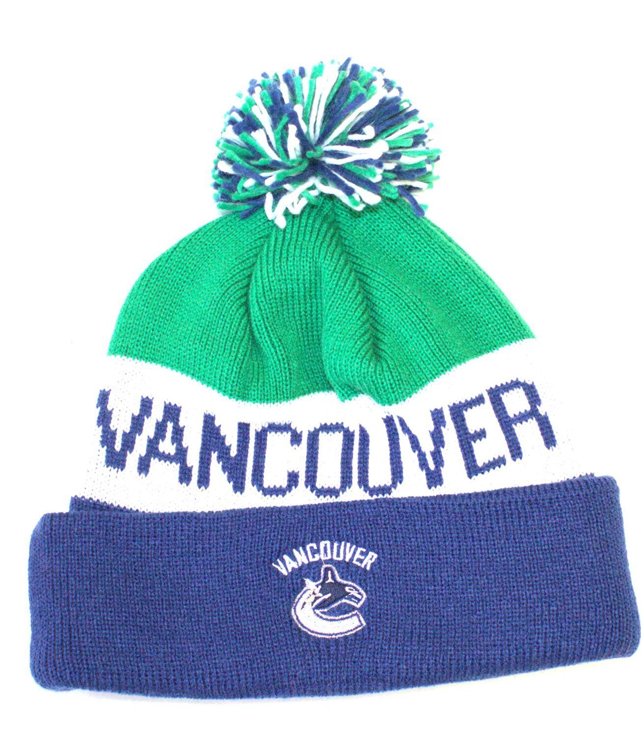 8d6ab54ff91 Amazon.com   NHL Officially Licensed Vancouver Canucks Blue Green Striped  Team Name Cuffed Pom Beanie Hat Cap Lid Skull   Sports   Outdoors