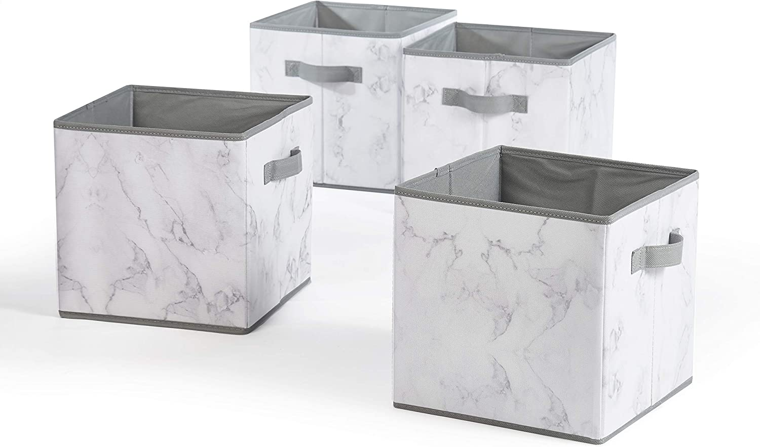 Urban Shop Marble Storage Cubes, Set of 4, Grey/White