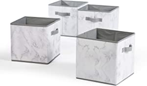 Urban Shop Marble Storage Cubes, Set of 4, Grey/White
