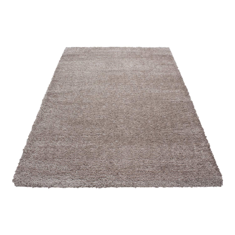 Hochflor Schaffell Shaggy Teppich Langflor einfarbig kuschelig 45 mm Florhöhe, Farbe Beige, Maße 140x200 cm