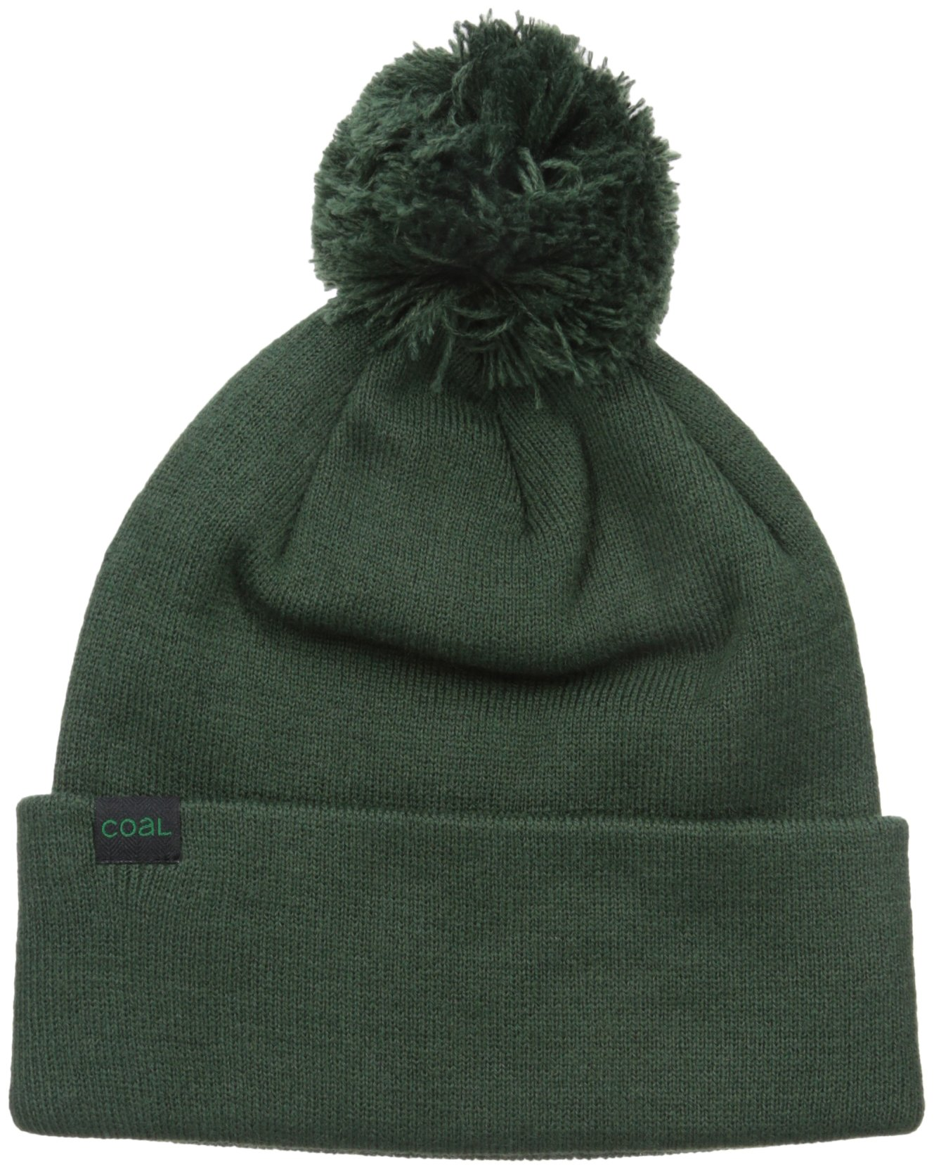 Coal Men's The Pablo Fine Knit Beanie Cuffed Hat Pom, Hunter Green, One Size