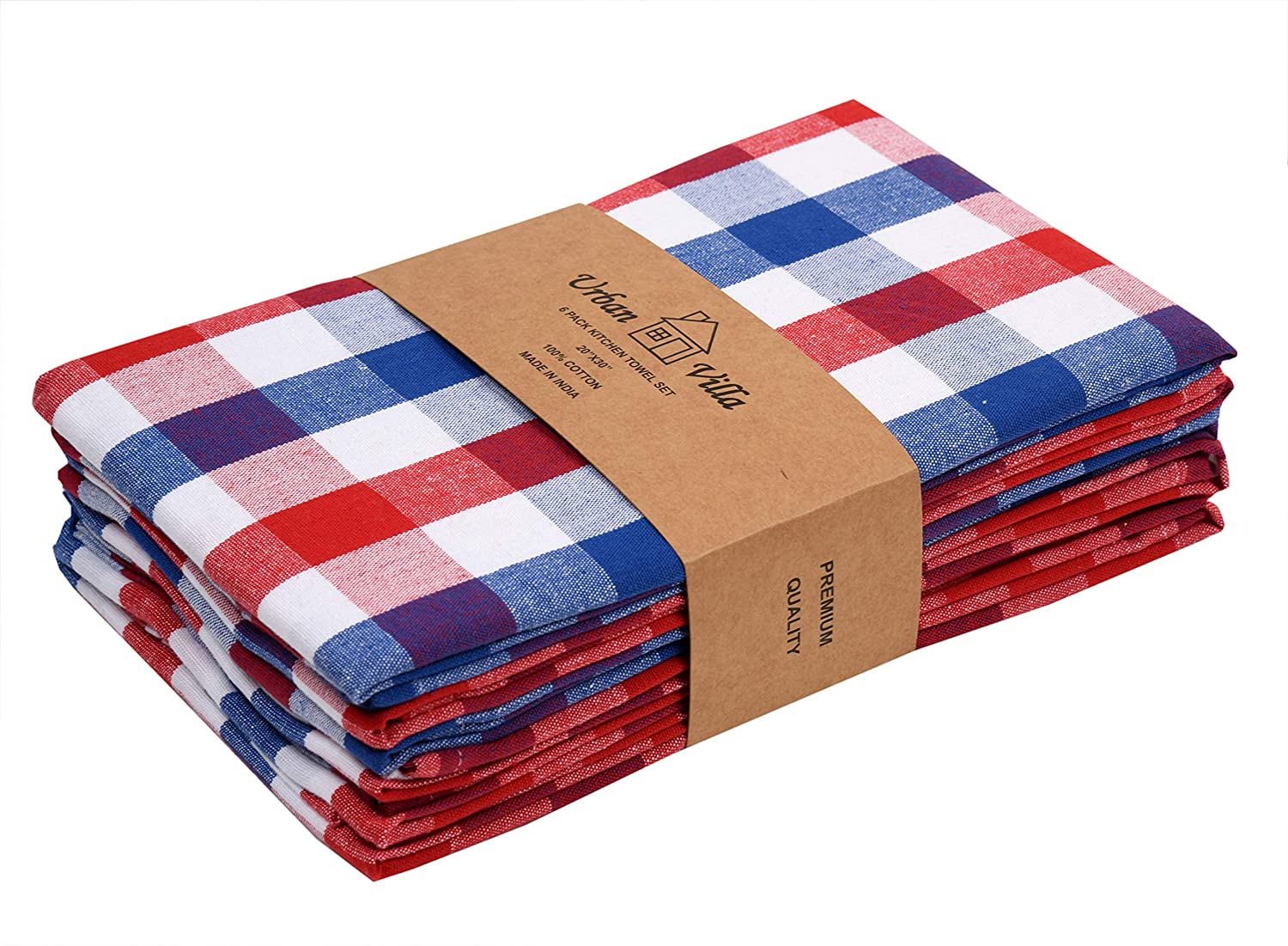 Urban Villa Kitchen Towels, Premium Quality, 100% Cotton Dish Towels, Mitered Corners,Ultra Soft (Size: 20X30 Inch),Red/Blue/White Highly Absorbent Bar Towels & Tea Towels - (Set of 6)