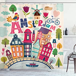 Ambesonne Dutch Shower Curtain, Cartoon Style Amsterdam Architecture Illustration with Colorful City and Trees, Cloth Fabric Bathroom Decor Set with Hooks, 70