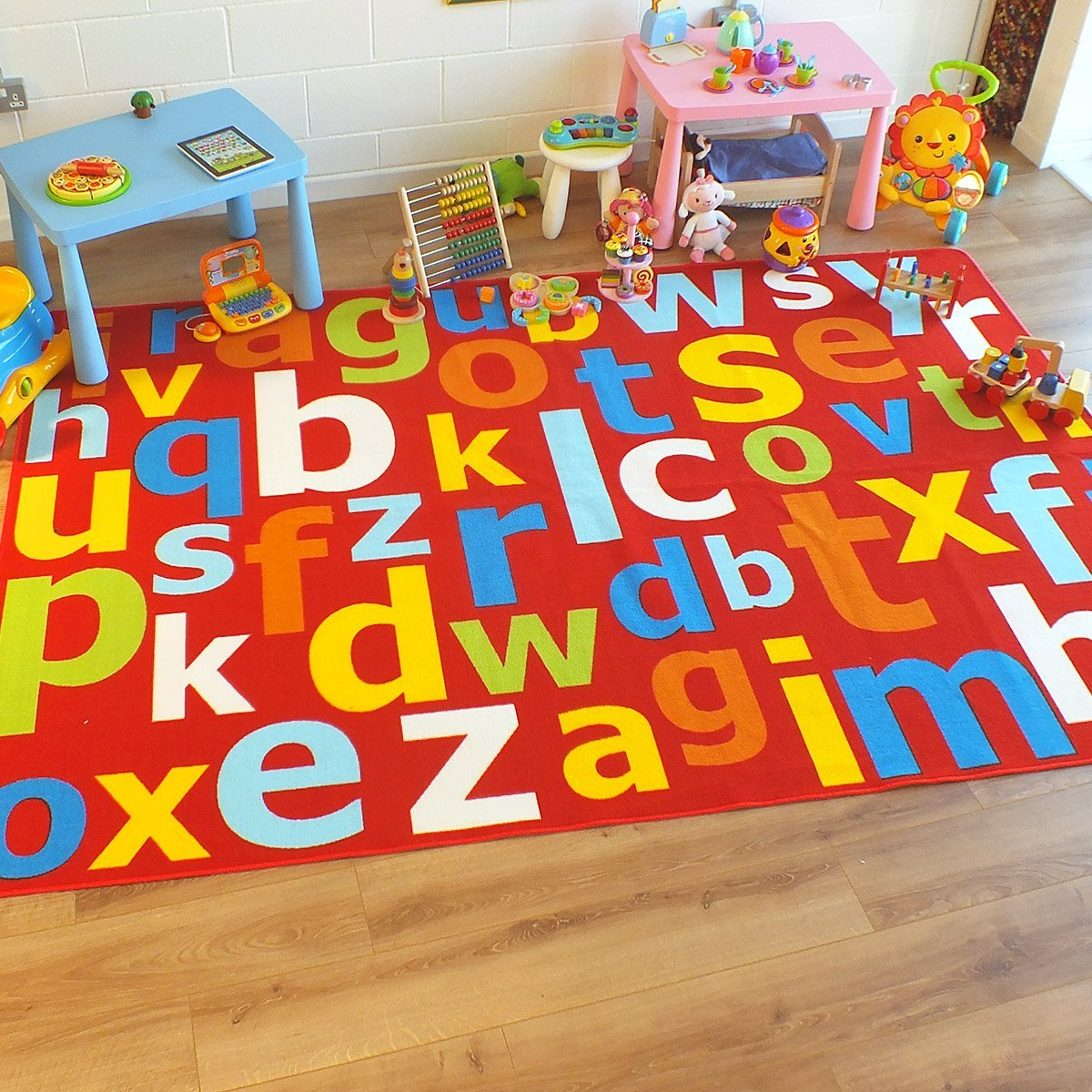33 x 66 approx Superb Kids//Childs Rug Red Multi Coloured Large Alphabet Educational 100cm x 200cm