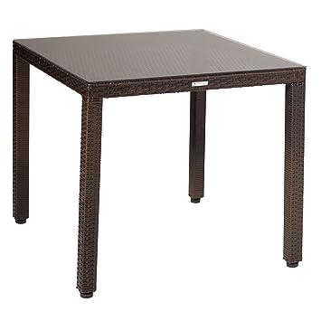 greemotion Table de jardin en résine tressée Milano 80 x 80 ...