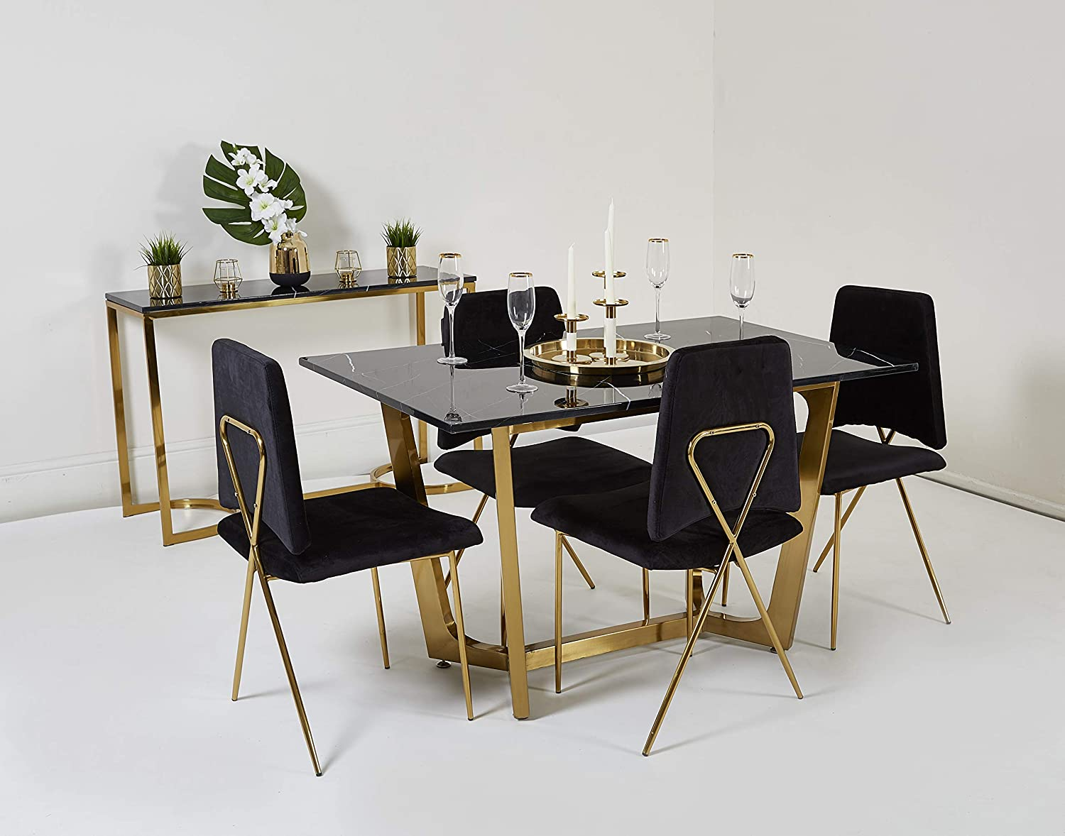 Abreo Marble Top Dining Table White Black Gold Silver Metal Legs For Dining Room 4 Seater Black Soft Velvet Dining Chair X1 Amazon Co Uk Kitchen Home