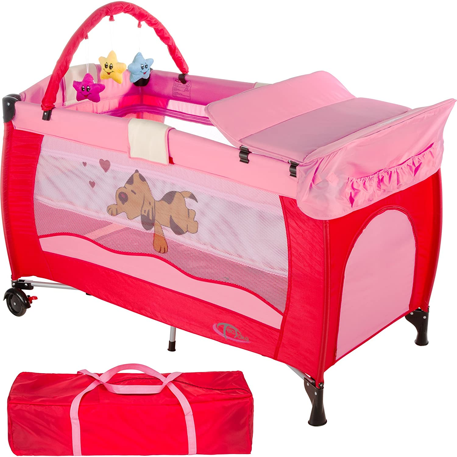 TecTake New portable child baby travel cot bed playpen with entryway -different colours- (Coffee) 800032