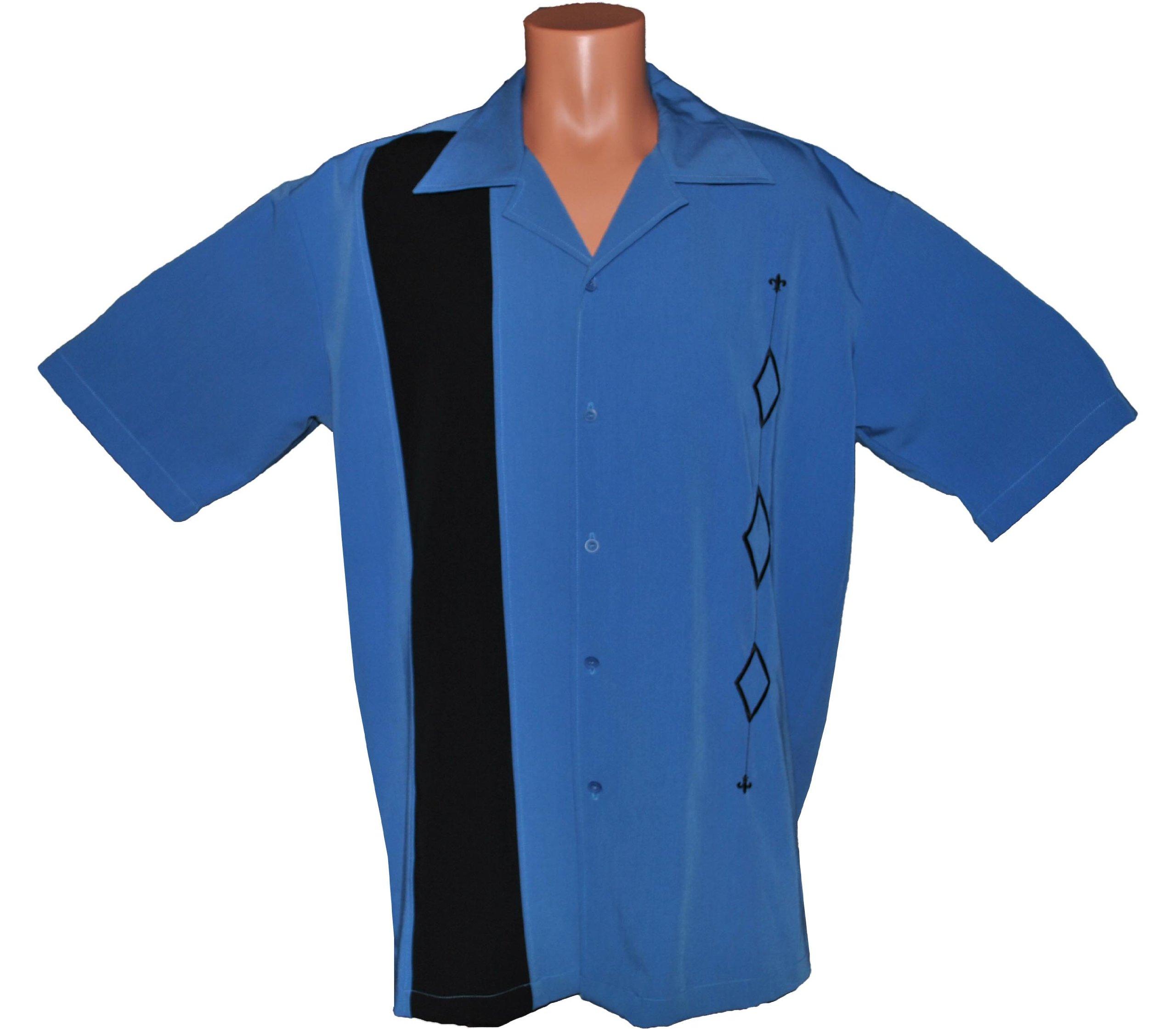 Retro Bowling Shirt, BIG & TALL sizes. Mens ALASKA BLUE Casual Shirt, Size XL-Tall