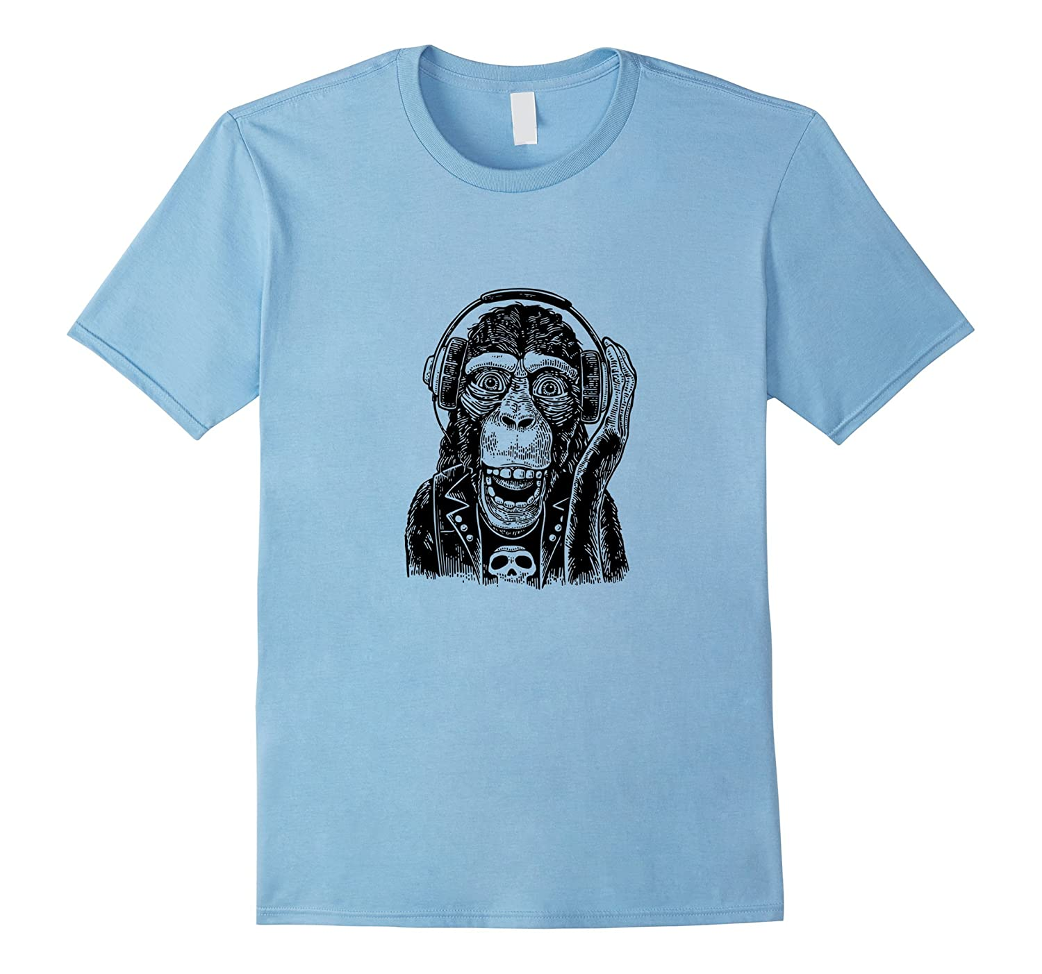 be0ab3363b5100 Cute Kids Adults Shirts Hipster Monkey T-Shirt Headphones – Teeae.com