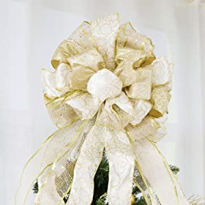 Christmas Tree Topper,Christmas Ornament with Glitter Satin Mesh Streamer,for Your Christmas Decor & Gift(Gold)