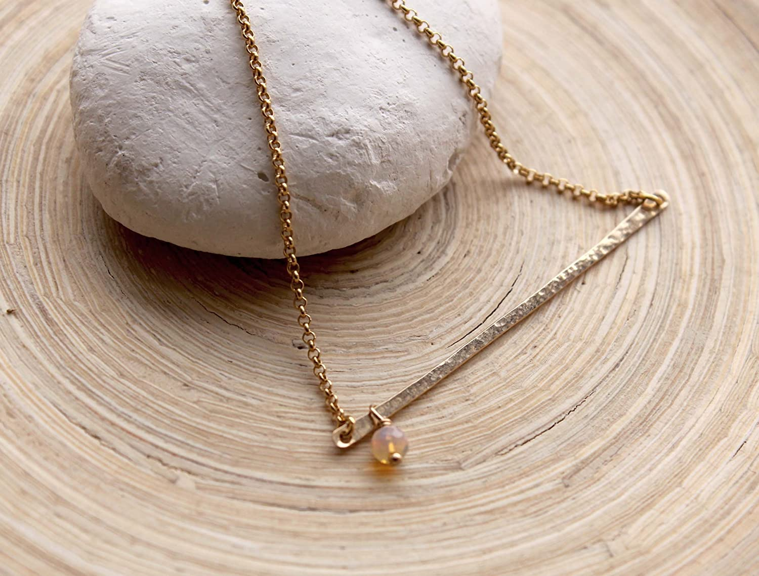 Dainty Gold Opal and Quartz Layered Necklce Ethiopian Opal and Rose Quartz Bar Necklace Minimal White Opal Necklace October Birthstone