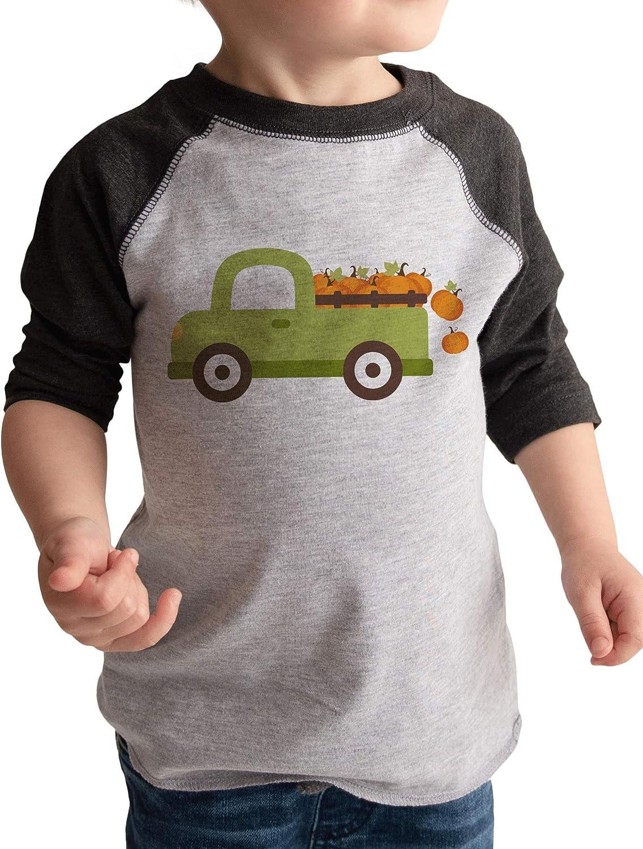 7 ate 9 Apparel Kids Pumpkin Truck Fall Shirt Grey
