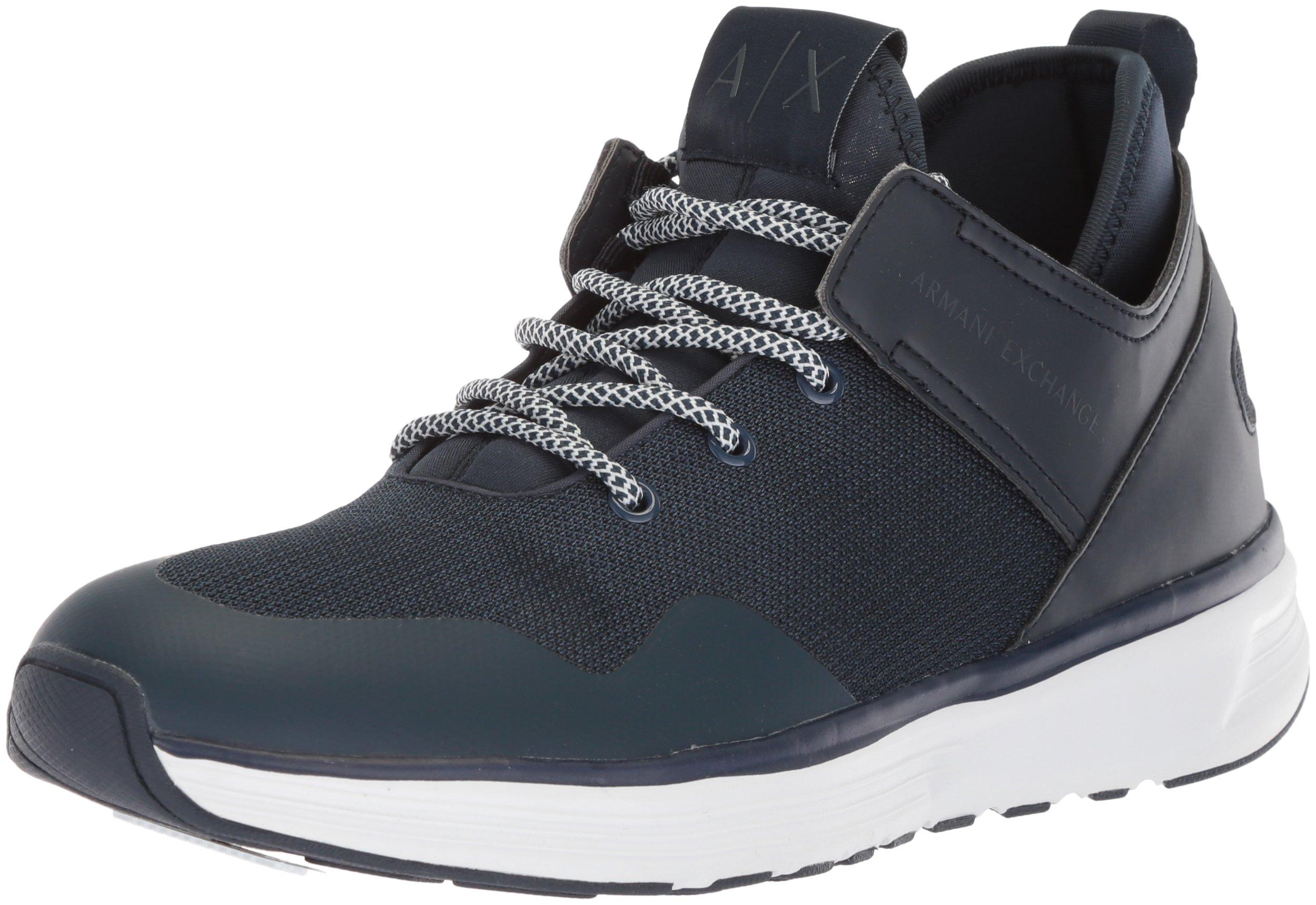 A|X Armani Exchange Men's Mid Cut Lace up Sneaker, Navy, 9 Medium US