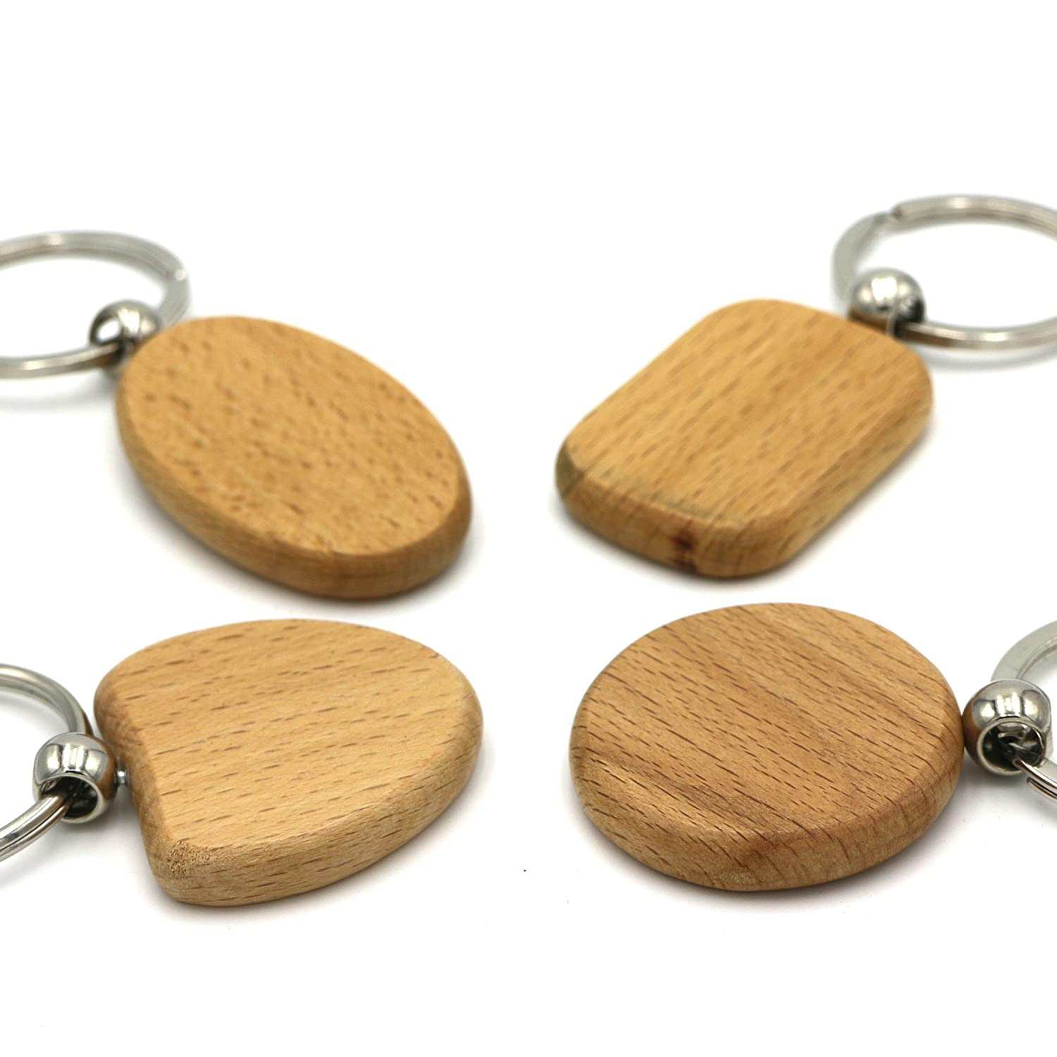 Kimter DIY Blank Wooden Key Chain Personalized EDC Wood Keychains Best Gift  Mix 4 Shape Pack Of 10pcs