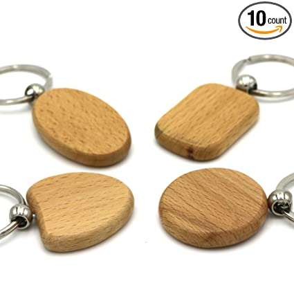 4e033e26bd Amazon.com: Kimter DIY Blank Wooden Key Chain Personalized EDC Wood  Keychains Best Gift Mix 4 Shape Pack Of 10pcs: Sports & Outdoors