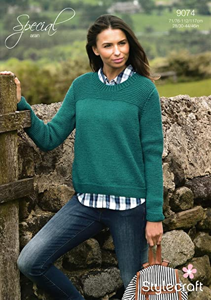 1682bdf435e4e4 Stylecraft 9074 Knitting Pattern Ladies Sweater in Special Aran   Amazon.co.uk  Kitchen   Home
