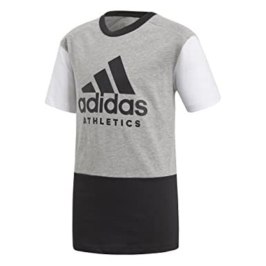 39d432a705b42 adidas - T-Shirt - Garçon Gray/Black/White - - 164 cm(13-14 Ans ...