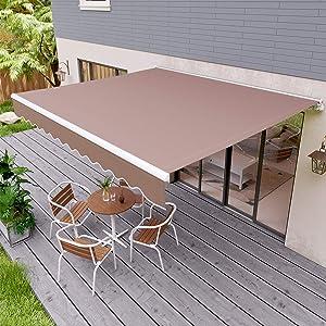 "streakboard 137.7"" × 118"" Patio Awning, Outdoor Retractable Sunshade Window Door Shelter Canopy, Water UV/Heat Resistant with Crank Handle, for Courtyard, Balcony, Shop, Restaurant, Cafe"