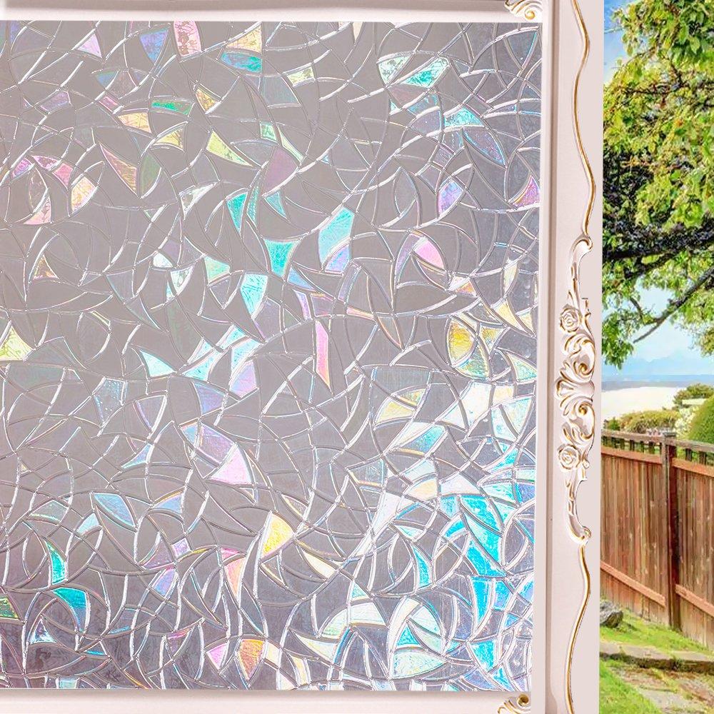 Wopeite 3D No Glue Static Decoration Semi-Private Window Films for Glass Non-Adhesive Heat Control Anti Uv 35.4 X 78.7inches
