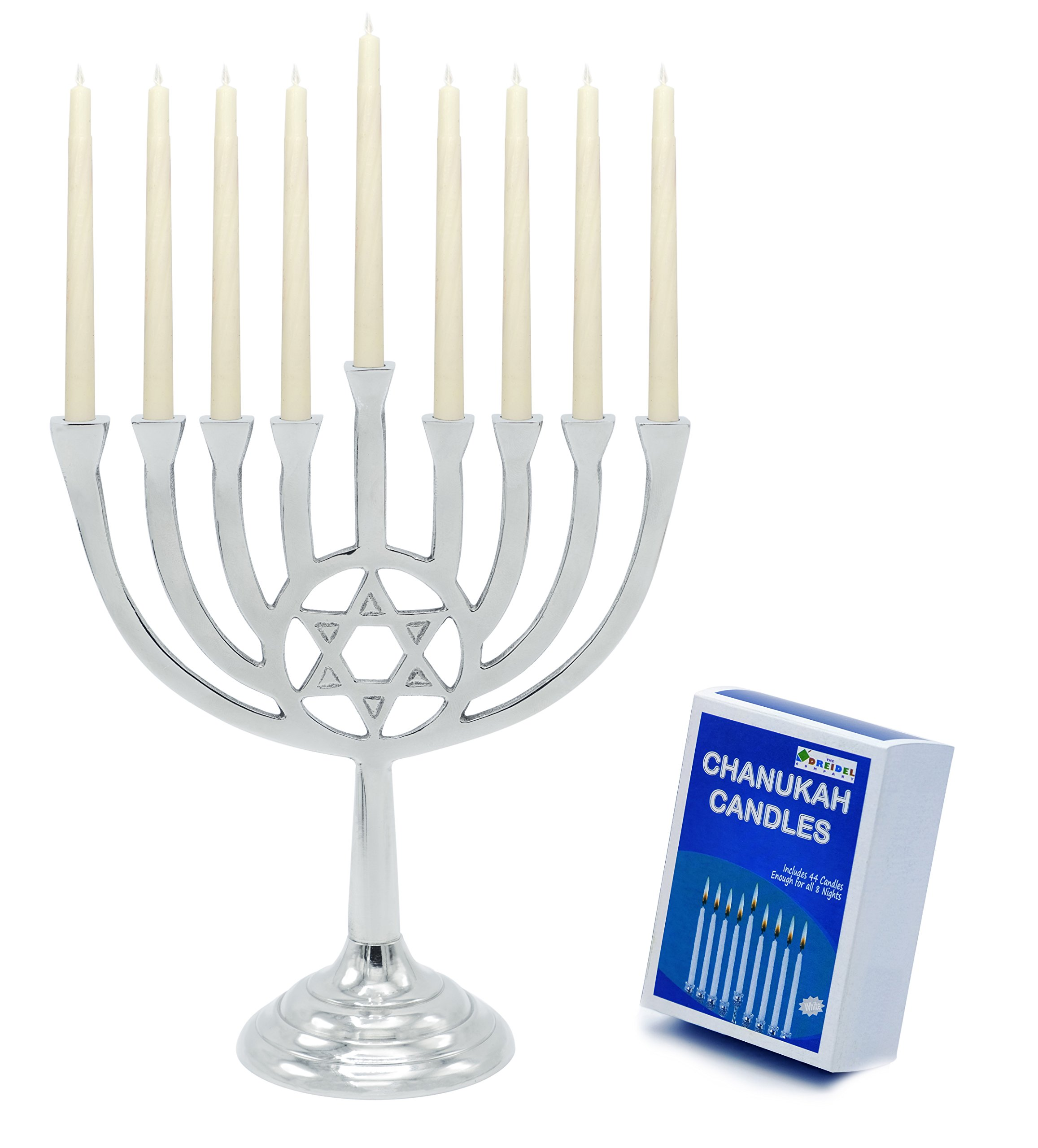 Menorah With Traditional Star of David - Polished Aluminum Includes Box Of 44 Elegant White Candles