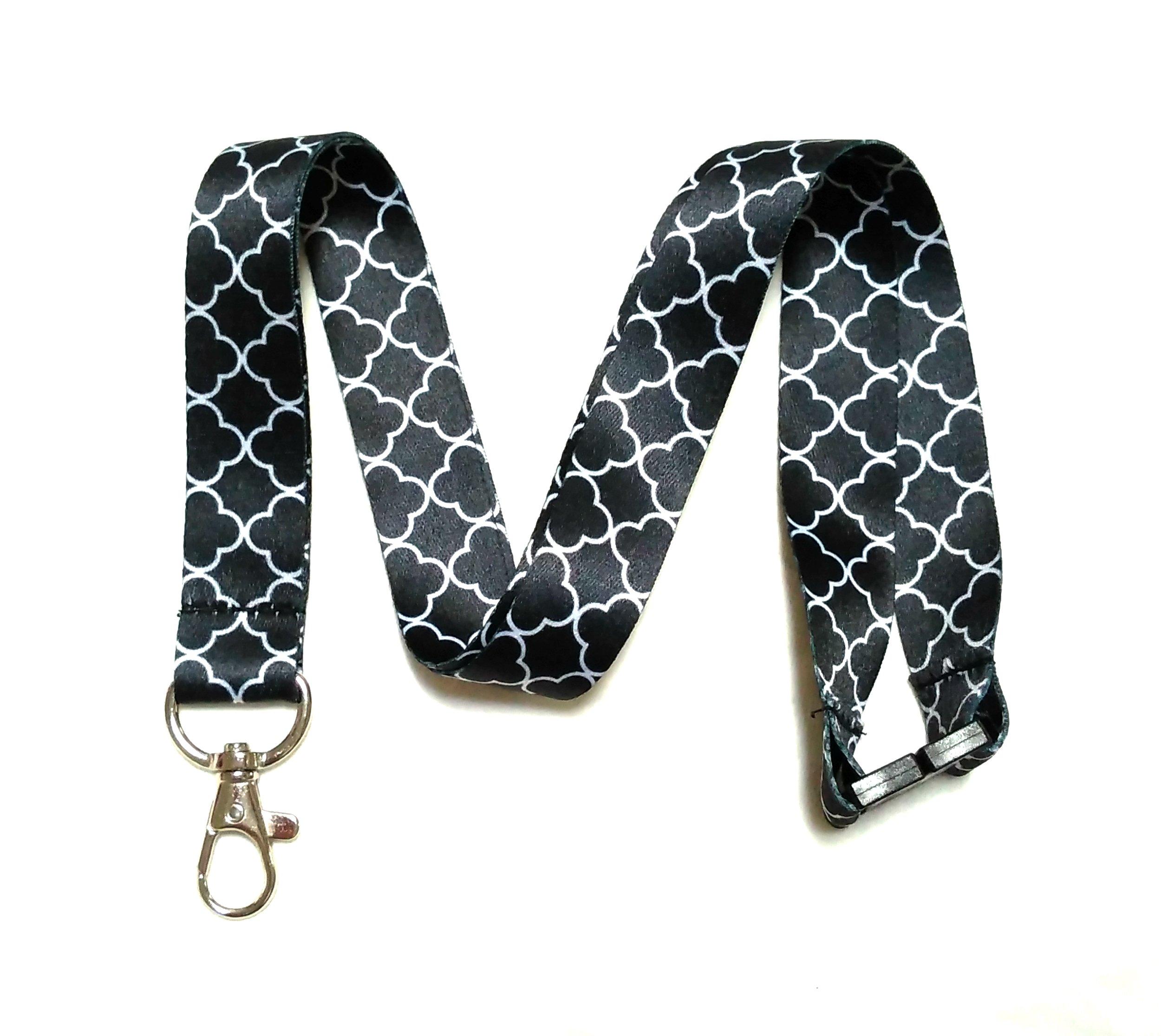 Break Away Black & White Print Lanyard Key Chain Id Badge Holder (Trellis)