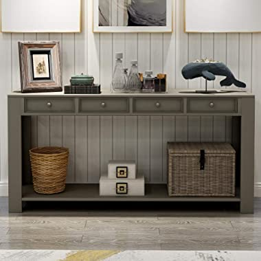 P PURLOVE Console Table for Entryway Hallway 64  Long Sofa Table with Storage Drawers and Bottom Shelf (Khaki)