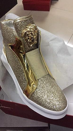 Shukun Botas de hombre Martin Boots Botines para Hombre Zapatos Altos Fideos Brillantes Estilista para el Cabello de los Hombres Wild Casual Shoes para ...
