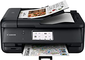 Canon TR8620 All-In-One Printer For Home Office   Copier  Scanner  Fax  Auto Document Feeder   Photo and Document Printing   Airprint (R) and Android Printing, Black (Renewed)