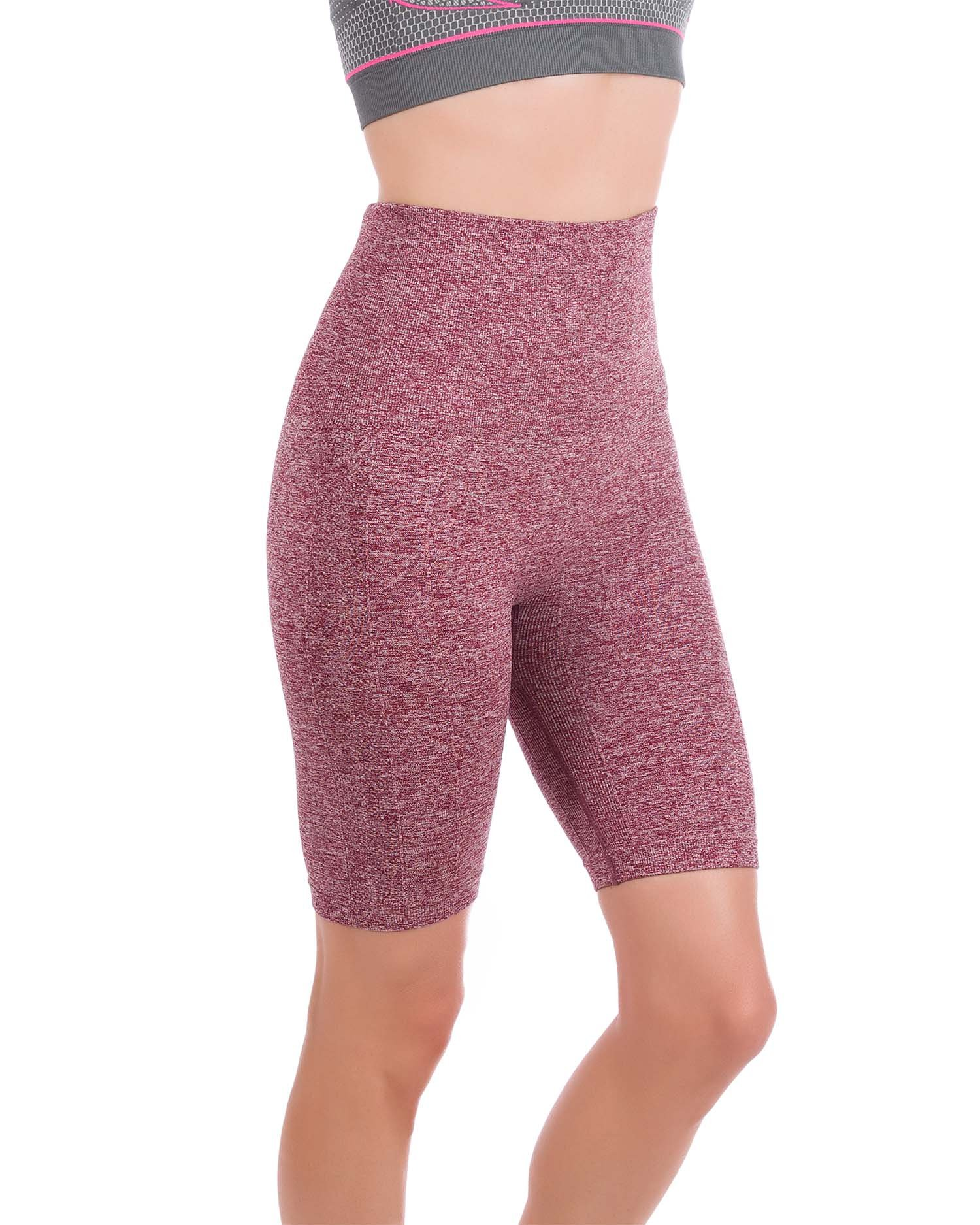 Homma Women's Tummy Control Fitness Workout Running Yoga Shorts (Small, H.Burgundy) by Homma