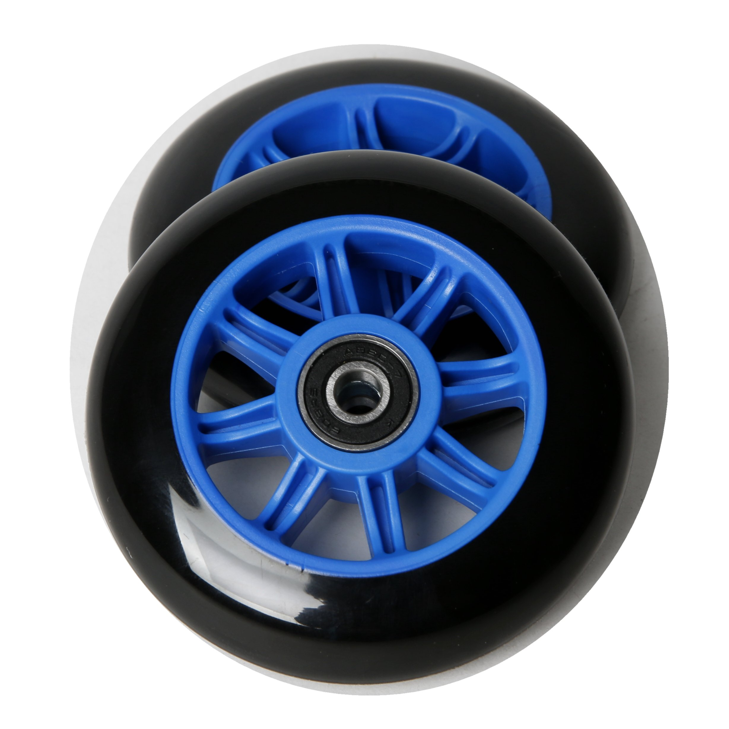 FREEDARE Scooter Wheels for Kick Scooter Replacement Wheels with Bearings(Pack of 2,Blue)