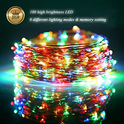 Amazon fairy lights led string lights outdoor 33ft 100led fairy lights led string lights outdoor 33ft 100led copper wire battery powered with remote control decorative aloadofball Gallery