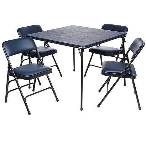 Juego de mesa y sillas plegables de vinilo de la serie XL (5 ...
