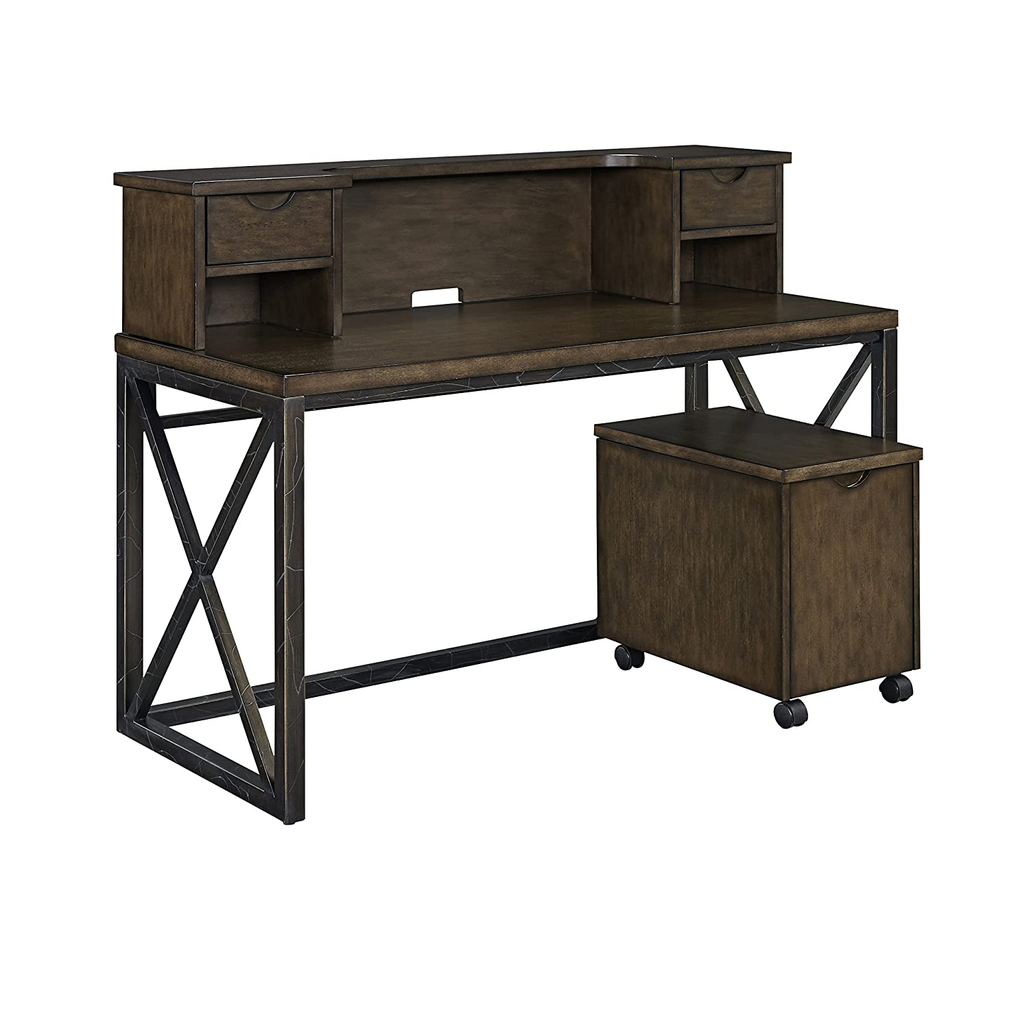 Home Styles 5079-152 Xcel Office Desk with Hutch & Mobile File