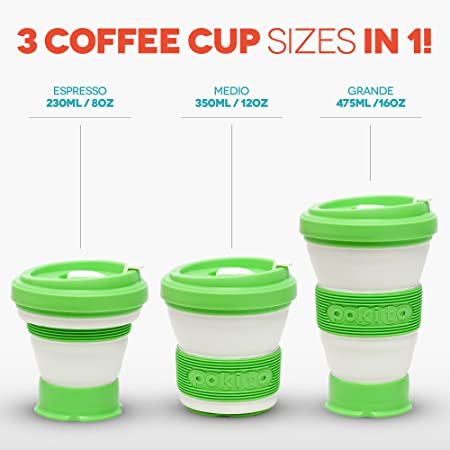 Collapsible Coffee Cup Reusable Eco Friendly Folding Travel Mug Fits Pocket or Bag Leak Proof Lid 3 Adjustable Sizes Replace Takeaway Cups