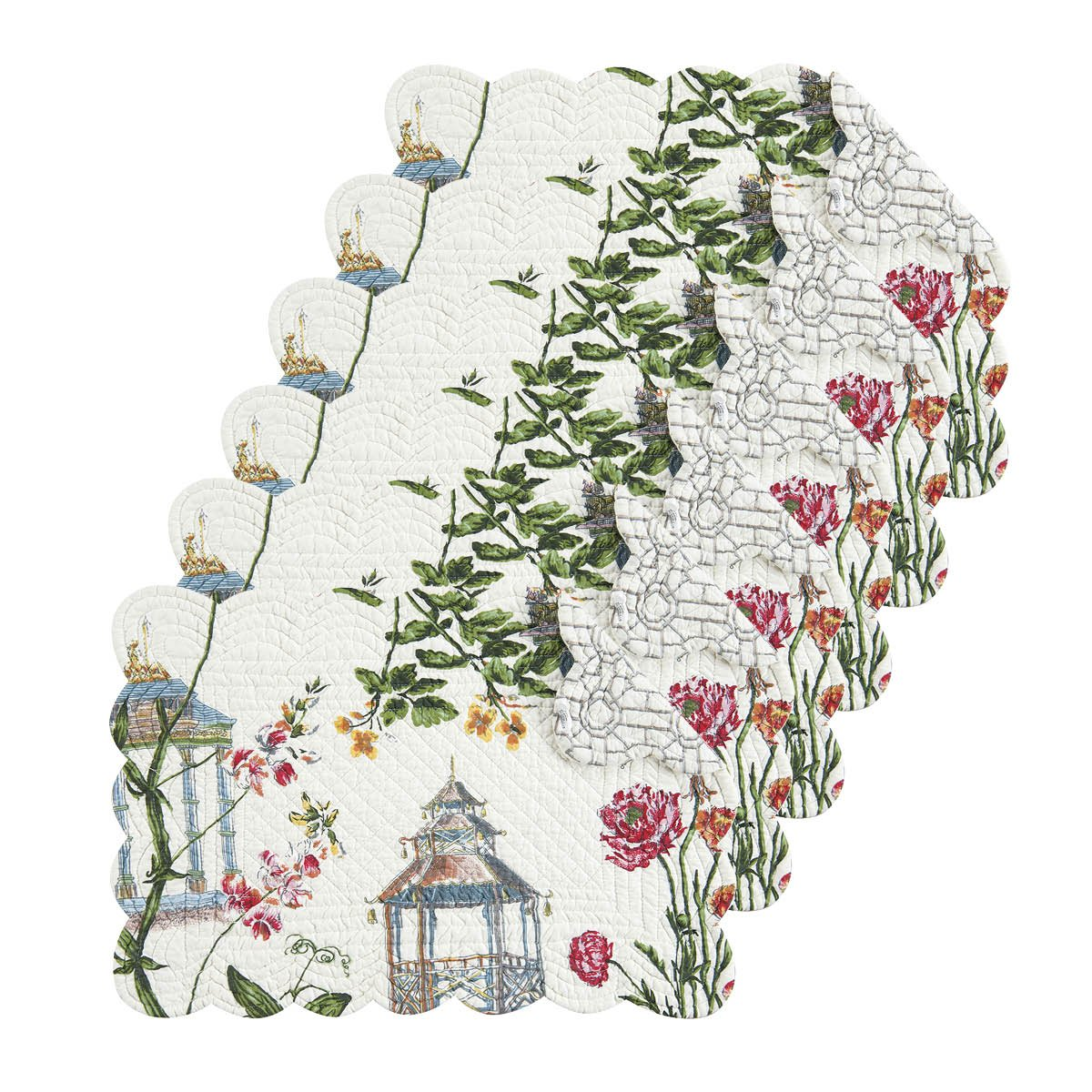 Garden Folly Tabletop親 Rectangular Placemat Set of 6 862621648S6 Rectangular Placemat Set of 6  B0762QPKBG