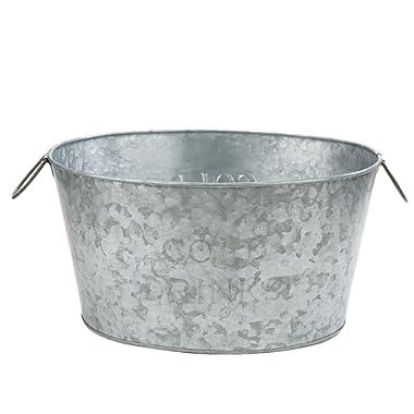 Mind Reader Ice Bucket Beverage Chiller Tub, Heavy Duty Oval Galvanized Iron, Silver