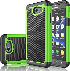 Tekcoo J3 Emerge/J3 Prim Case, Galaxy J3 Luna Pro/J3 Mission/J3 Eclipse/Amp Prim 2/Express Prim 2 Case,[Tmajor] Shock Absorbing [Green] Rubber Plastic Sturdy Hard Cover