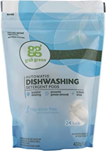 Grab Green Natural Dishwasher Detergent Pods, Fragrance Free, Organic Enzyme-Powered, Plant & Mineral-Based, Free & Clear/Unscented, 24 Count