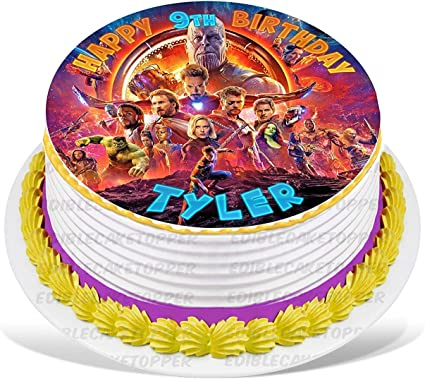 Superhero Round Edible Birthday Cake Topper Frosting Sheet Decoration
