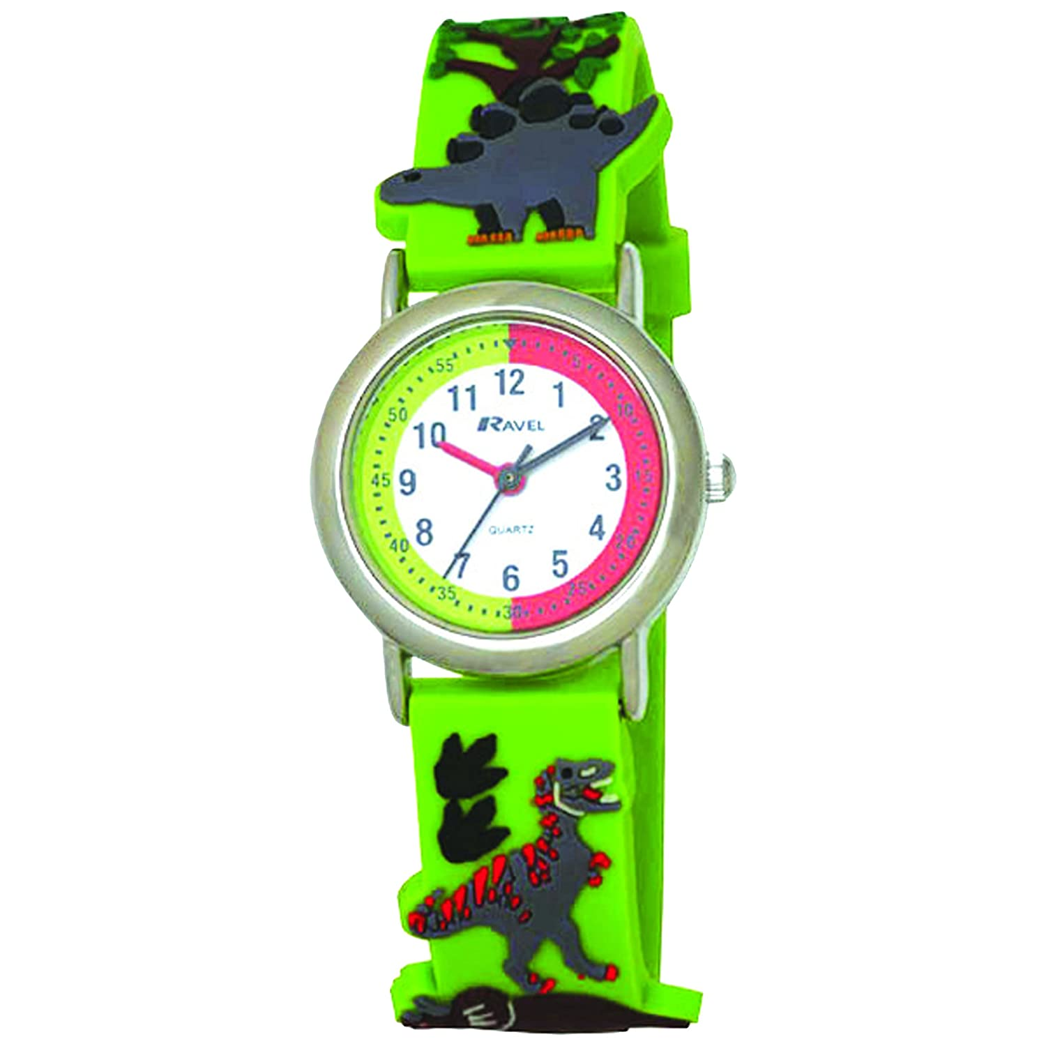 ravel cartoon dinosaur 3d childrens quartz watch with white dial analogue display and multicolour plastic strap r151359 amazoncouk watches