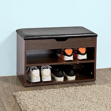 Haotian SoBuy Wooden Shoe Cabinet, 2 Tiers Shoe Storage Bench Shoe Rack,FSR25-BR