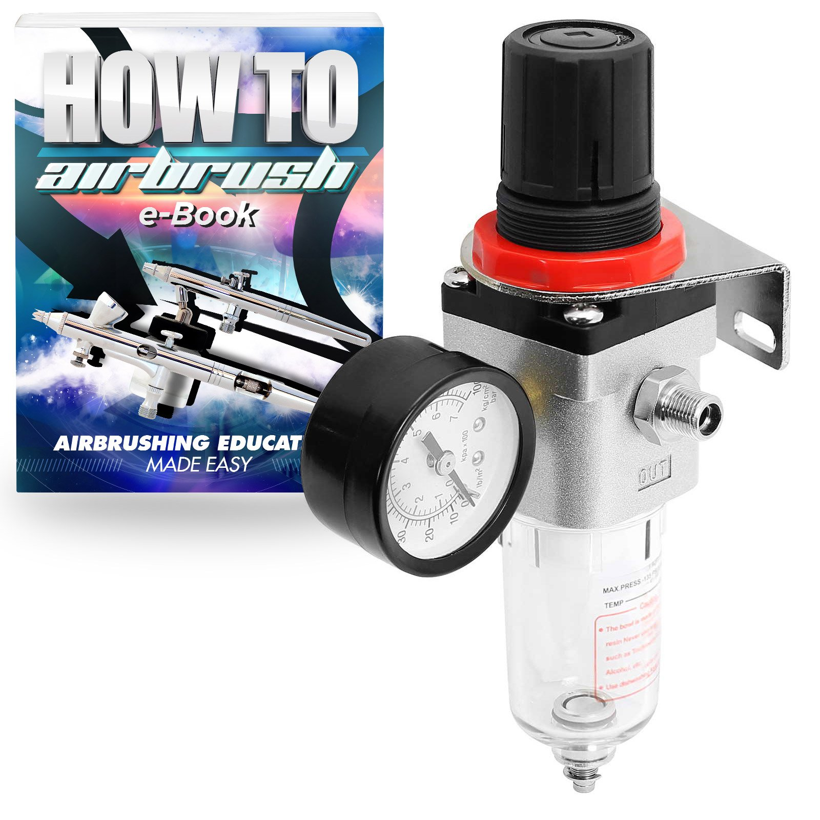 PointZero Pro Airbrush Air Compressor Regulator with Water-Trap Filter by PointZero Airbrush